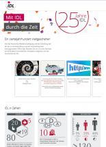 Screenshot der Site www.idl.eu/zeitreise: Meilensteine der Unternehmensentwicklung seit Gründung im Juni 1990 sowie die weiteren Ziele und Visionen