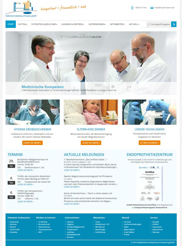 Neue Webseite für Städtisches Krankenhaus Pirmasens