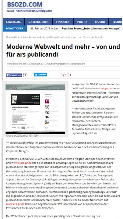 Moderne Webwelt und mehr - von und für ars publicandi